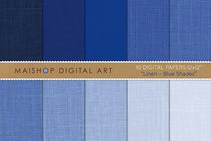 Digital Paper Linen Blue Shades