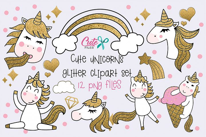 Cute unicorns with glitter clipart set, 12 png files