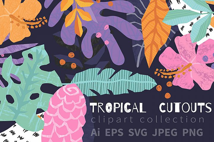 Tropical Cutouts Clipart Set- Vector and Raster .