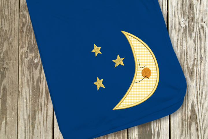 Moon and Stars Applique Embroidery Design