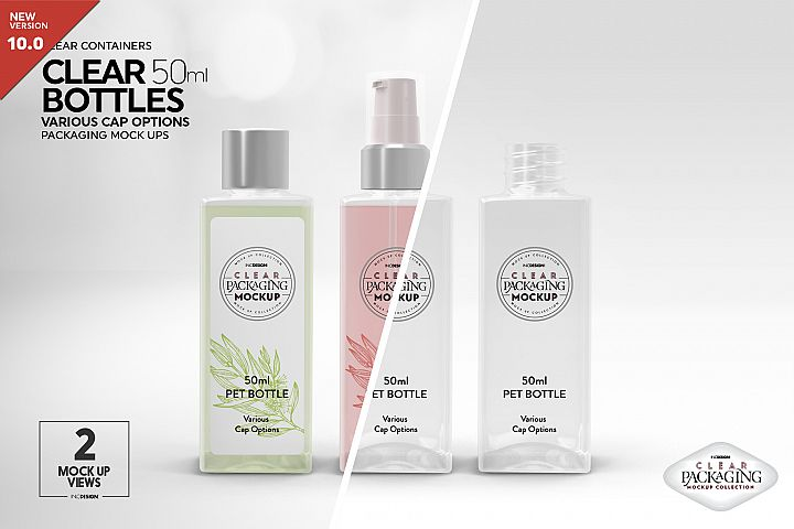 Clear 50ml PET Bottles Packaging Mockup