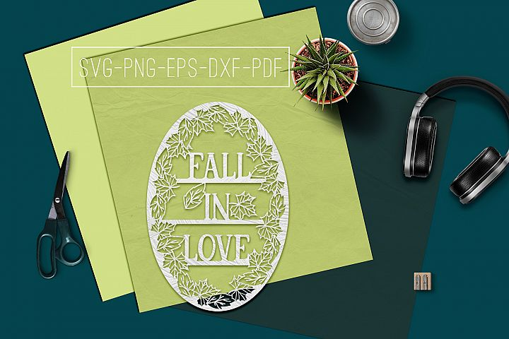 Fall In Love Papercut Template, Fall Decor, Leaves SVG, PDF