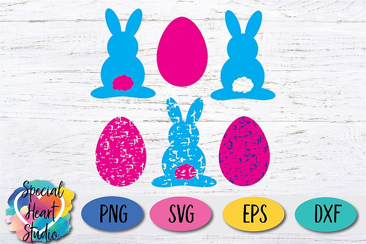 Bunny and Eggs - Easter Shapes in solid and grunge SVG
