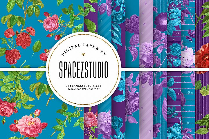 Blue & Purple Tileable Backgrounds With Flower Illustrations