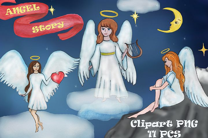 Angel story watercolor clipart, baptism clipart