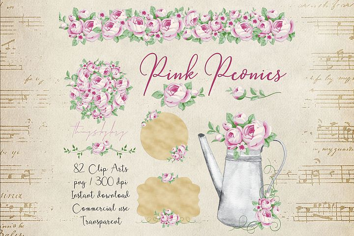 82 Romantic Pink Peony Clip Art Peony Border Bouquet Garden