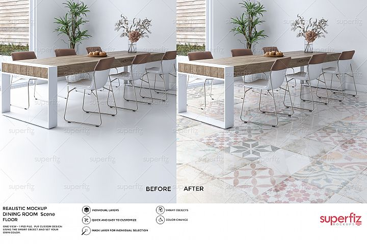 Dining Room PSD Mockup to change the FLOOR surface SM23