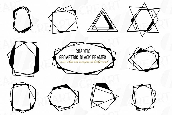 Chaotic geometric black frames, lineal frames clip art