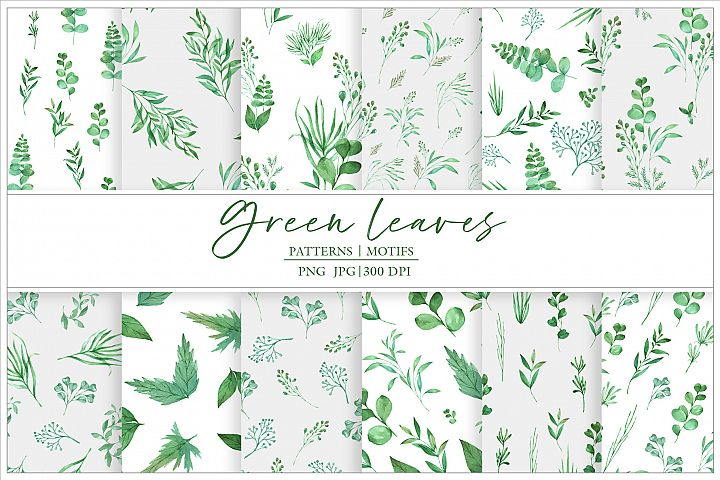 Watercolor seamless patterns Green leaves