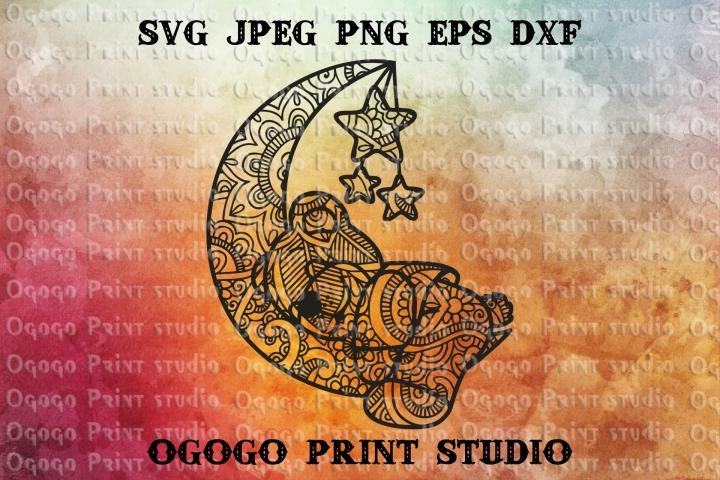 Bear svg, Zentangle SVG, Mandala svg, Sleep svg, Dream svg
