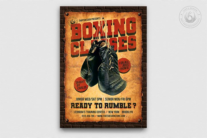 Vintage Boxing Classes Flyer Template