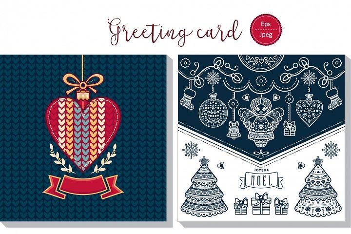 Joyeux Noel. Christmas card. Merry Xmas. Winter background. France. Holiday ornament.