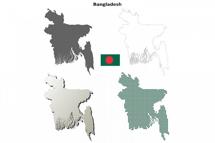 Bangladesh outline map set