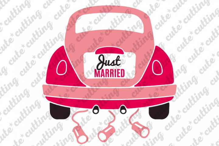 Just married, Just married car, wedding car svg, dxf, png