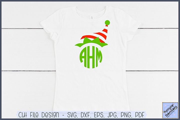 Elf Hat Monogram Topper - SVG and Clipart