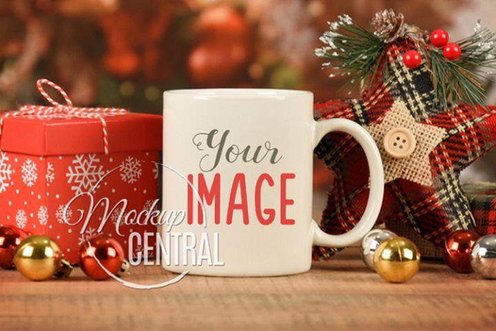 White Christmas Coffee Glass Mug Mock Up, JPG Cup Mockup