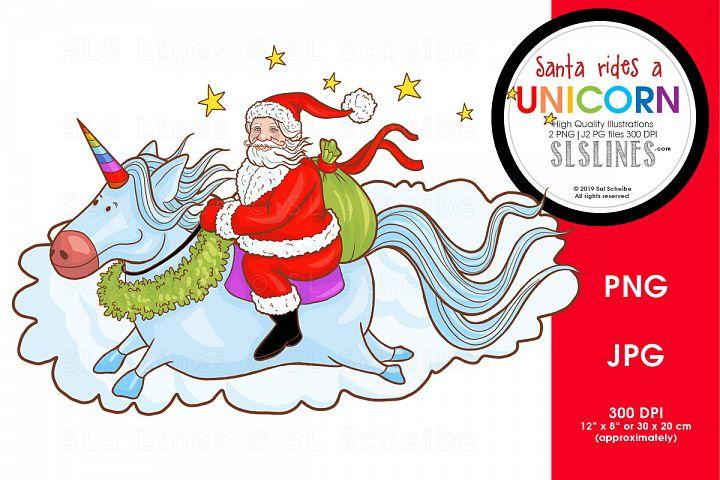 Santa Rides a Unicorn PNG