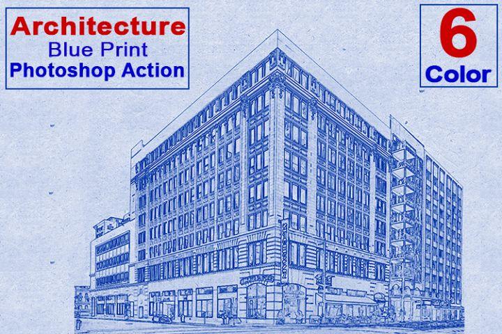 Architecture Blue Print Photoshop Action