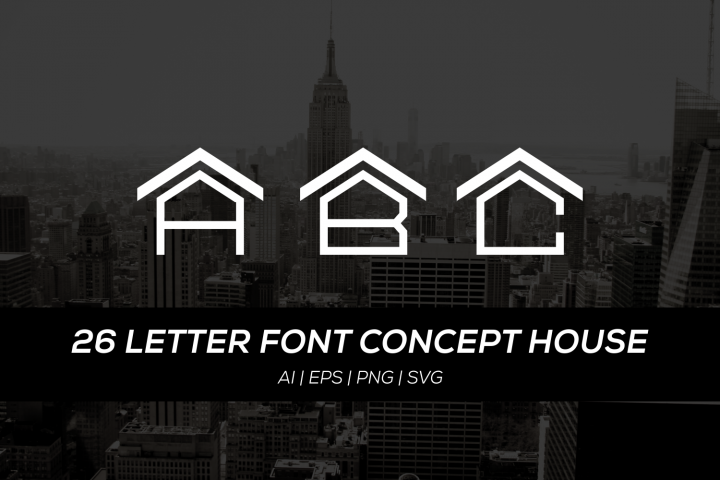 26 letter font with house concept