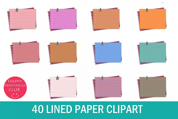40 Lined Paper Clipart- Lined Notebook Page Clipart Images