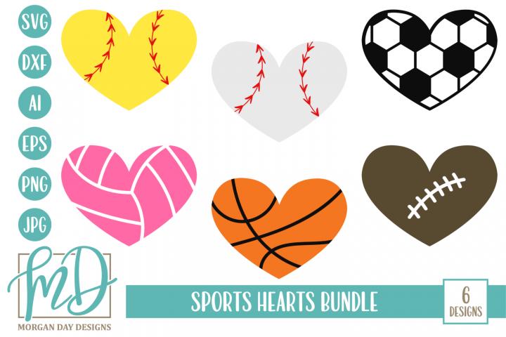Sports Heart Bundle SVG, DXF, AI, EPS, PNG, JPEG