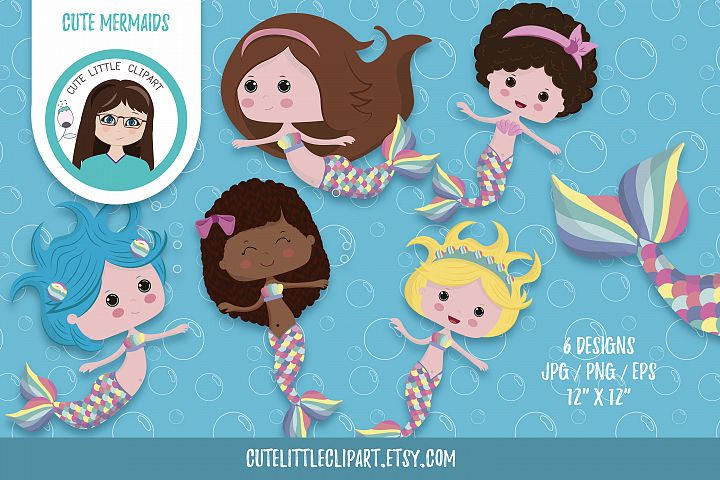 Little mermaid cliparts