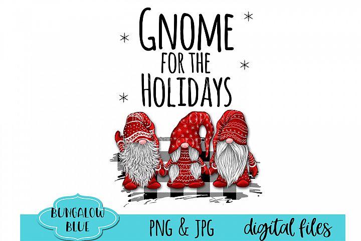 Gnome For The Holidays Trio Buffalo Plaid Design Download