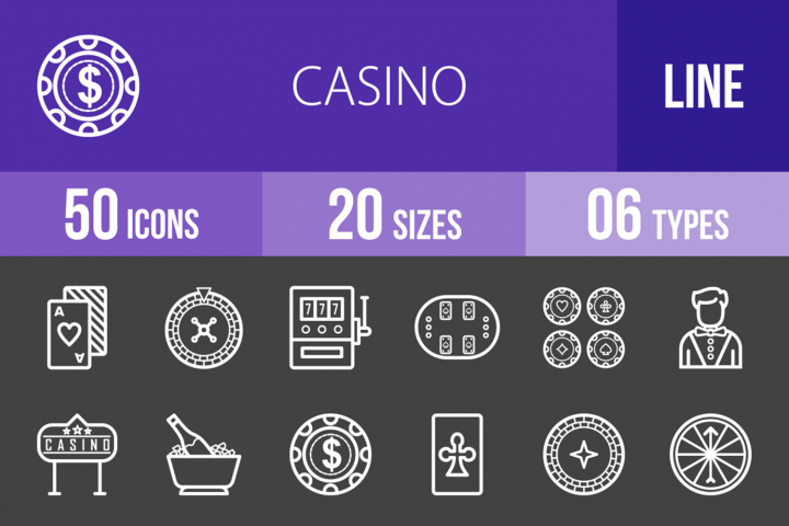 50 Casino Line Inverted Icons