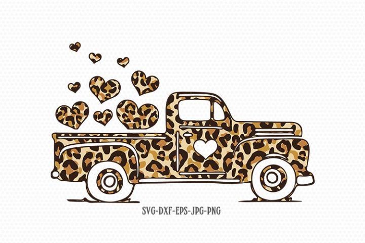 Valentines Truck svg, Valentines SVG, Cheetah print svg
