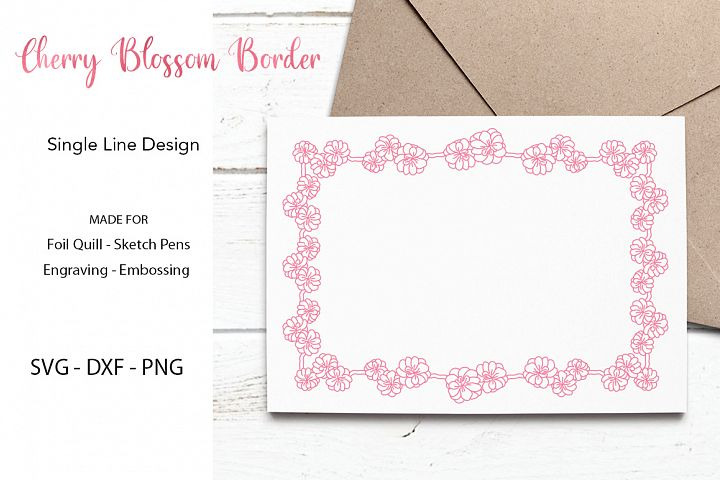 Cherry Blossom Border SVG For Foil Quill