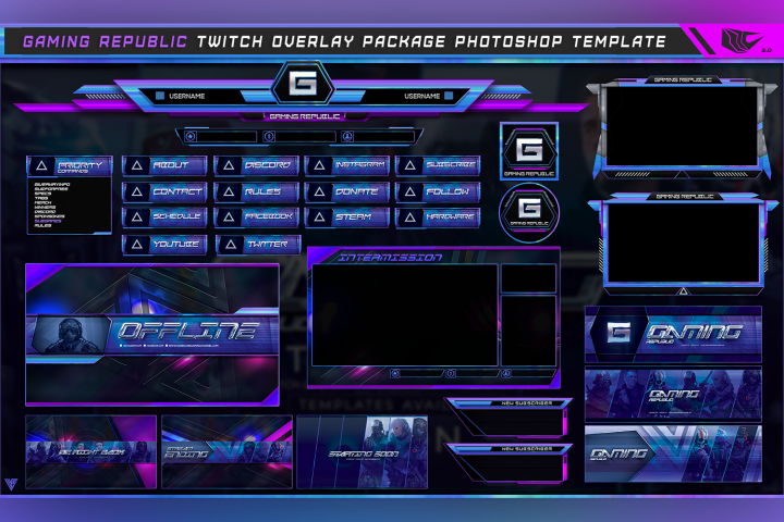 Gaming Republic Twitch Overlay Package Photoshop Template