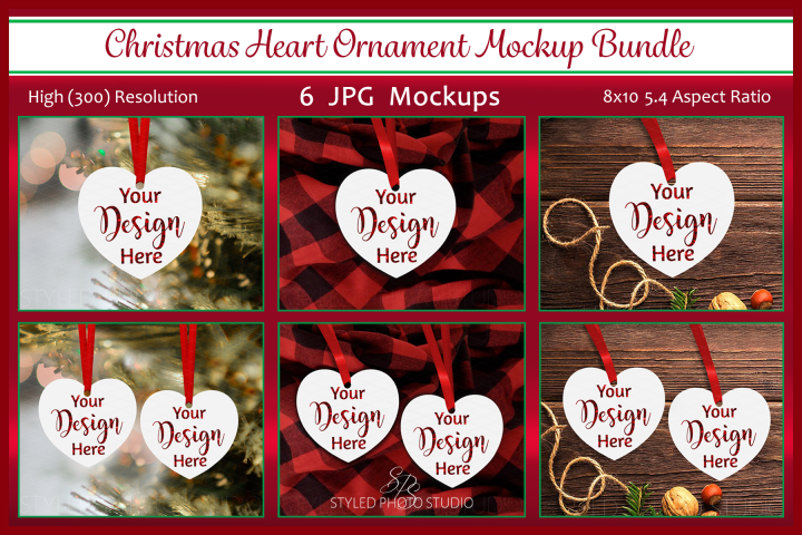 Christmas Heart Ornament Mockup Bundle, Ornament Mock Up