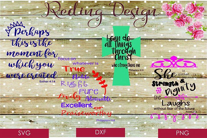 Bible Verse Bundle Proverbs Esther Phillipians SVG DXF PNG Digital Cut Files