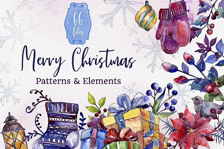 Set of illustrations Christmas miracle watercolor png