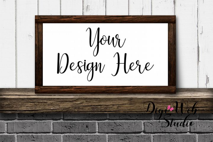 Wood Sign Mockup - Wood Frame on Fireplace Mantle