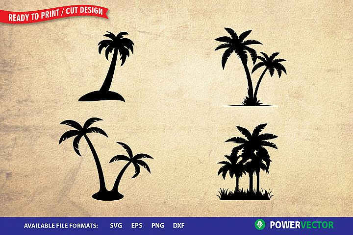 Palm Tree SVG| Cutting Clipart for Cricut, Silhouette