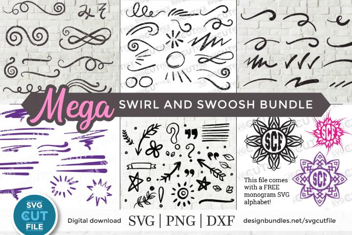 Swirl and swoosh svg bundle, flourish svg, swirls & swooshes