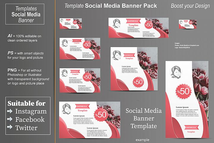 Template - Social Media Banner- Coral Color