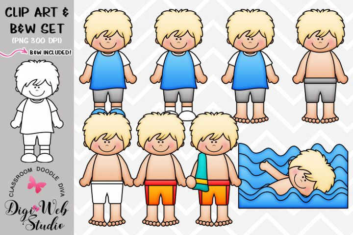Clip Art / Illustrations - Lance Gets Dressed for Swimming