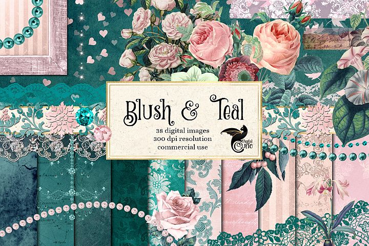 Blush & Teal Digital Scrapbooking Kit