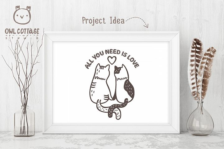 Valentine Cats Couple svg , Cats Clipart, Valentine's Day Sv - Free Design of The Week Design6