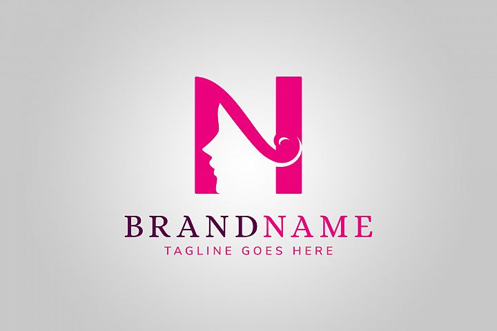 Woman Letter N Logo Template