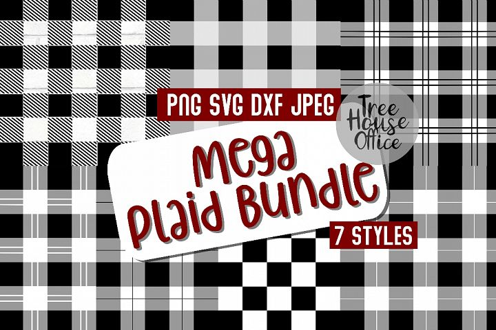 Buffalo Plaid Christmas Pattern Bundle SVG DXF PNG JPEG