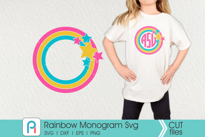 Rainbow Monogram Svg, Rainbow Svg, Rainbow Frame Svg