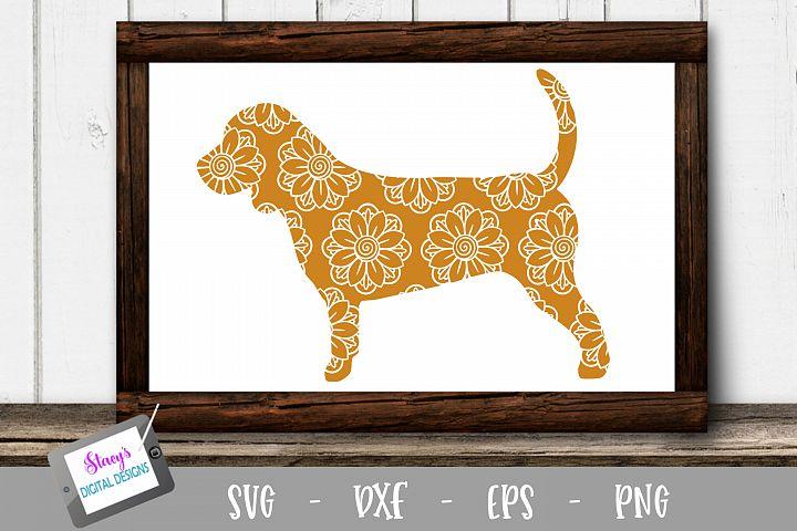 Dog SVG - Beagle with floral mandala pattern