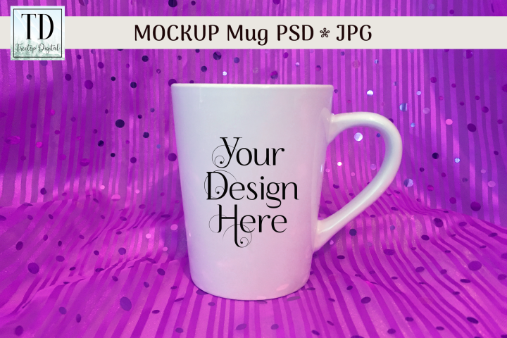 White Christmas Mug Mockup with Purple Sequins, PSD & JPG