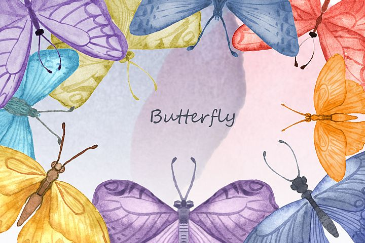 Multicolored watercolor butterflies clipart.