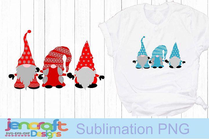 Christmas SVG - Nordic Gnome trio SVG Elf Clipart