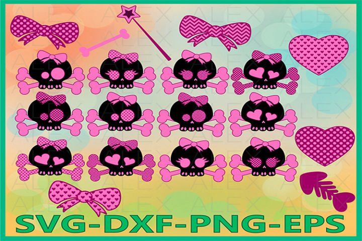 Cute Skull Girl Svg, Halloween, Girl Skull Svg, Skull Svg