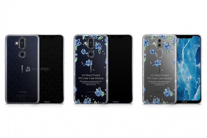 Nokia 8.1 UV TPU Clear Case Mockup 2018